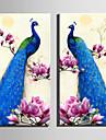 Animais Floral/Botanico Estilo Europeu, 2 Paineis Tela de pintura Vertical Estampado Decoracao de Parede Decoracao para casa
