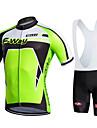 Fastcute Herr Dam Kortärmad Cykeltröja med Haklapp-shorts - Svart Cykel Bib Shorts Bib Tights Tröja Klädesset, Snabb tork,