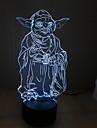 Yoda atingeți reglarea intensității luminoase 3D a condus lumina de noapte 7colorful decorare lampă atmosferă de iluminat noutate lumina de Crăciun