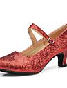 Latin / Modern-Pantofi de dans(Roșu / Gri) -Personalizabili-Damă