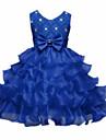 rochie de mireasa ceai lungime floare fată rochie - dantelă organza fără buzunar gât de bijuterie cu panglică de mii