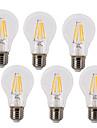 6pcs 4W 400 lm E26/E27 Bec Filet LED A60(A19) 4 led-uri COB Rezistent la apă Decorativ Alb Cald Alb Rece AC 220-240V