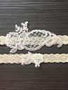 Dantelă Satin Stretch Clasic Modă Nunta Garter  -  Imitație de Perle Flori Jartiere