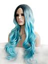 Synthetische Peruecken Locken Blau Rauch-Blau Synthetische Haare Damen Gefaerbte Haarspitzen (Ombré Hair) / Dunkler Haaransatz / Natuerlicher Haaransatz Blau Peruecke Lang
