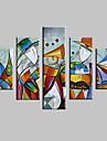 Hang-ζωγραφισμένα ελαιογραφία Ζωγραφισμένα στο χέρι - Αφηρημένο Τοπίο Μοντέρνα Με Πλαίσιο / Πεντάπτυχα / Επενδυμένο καμβά