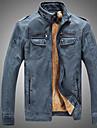 Bărbați Stand Jachetă Zilnic Stradă Clasic & Fără Vârstă,Culoare solidă Manșon Lung Iarnă-Regular PU N/A