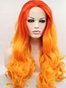 Femme Perruque Synthetique Lace Front Long Ondulation Naturelle Jaune Cheveux Colores Ligne de Cheveux Naturelle Perruque de Cosplay