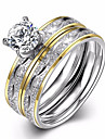 Pentru femei Verighete Inel de logodna Zirconiu Cubic Iubire La modă European costum de bijuterii Zirconiu Oțel titan Circle Shape