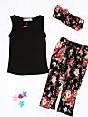 Fete Set Îmbrăcăminte Floral Primăvară Vară Toamnă Fără manșon Floral Negru