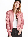 Women\'s Casual/Daily Simple Jackets,Solid Long Sleeve Winter Pink / Red / Black / Green / Yellow Polyester