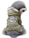 Chien Manteaux Pulls a capuche Vetements pour Chien Police/Militaire Vert epinard Kaki Coton Costume Pour les animaux domestiques Homme