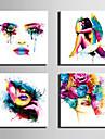 Människor Moderna, Fyra paneler Duk Fyrkantig Tryck väggdekor Hem-dekoration