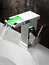 Moderne Set de centre Jet pluie LED Soupape ceramique Mitigeur un trou Chrome, Robinet lavabo