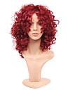Femme Perruque Synthetique Mi Longue Frises Bourgogne Perruque Naturelle Perruque Deguisement