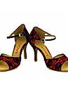 Pentru femei Latin Salsa Dantelă Mătase Sandale Călcâi Performanță Profesional Cataramă Legătură Panglică Toc Personalizat Alb Galben
