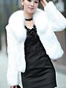 Γυναικεία Causal / Αργίες Κομψό & Μοντέρνο Χειμώνας Κοντό Γούνινο παλτό, Μονόχρωμο Πέτο χωρίς Μύτες Μακρυμάνικο Ψεύτικη Γούνα Μοντέρνο Στυλ Λευκό / Μαύρο L / XL / XXL