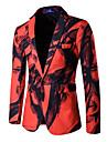 Bărbați Rever Clasic Blazer Casul/Zilnic / Plus Size Chinoiserie,Imprimeu Manșon Lung Primăvară / Toamnă-Roșu / Alb Bumbac / Poliester