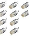 10pcs 1W 200lm G4 LED-lampor med G-sockel T LED-pärlor Högeffekts-LED Varmvit Kallvit 12V