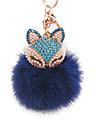 diamant räv head kaninpäls boll legering nyckelring mode väskor smycken