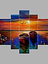 Pictat manual Abstract Orizontal,Modern Cinci Panouri Canava Hang-pictate pictură în ulei For Pagina de decorare