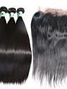 hårväft med stängning raka hårförlängningar 4st 4 stycken naturligt svart malaysiskt mänskligt hår väver #kgdaily