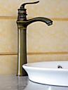 Antik Horisontell montering Keramisk Ventil Ett hål Singel Handtag Ett hål Antik mässing, Badrum Tvättställ Kran