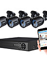 jooan® säkerhetssystem 1080n 8ch DVR-inspelare support ahd / tvi / cvi / cvbs och 4st väderbeständig tvi 1080p kamera