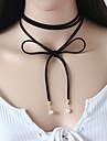 Pentru femei Coliere Choker / Y Colier / tatuaj cravată - Piele Floare Personalizat, Stil Tatuaj, Vintage Negru Coliere Pentru Petrecere, Party / Seara, Zilnic