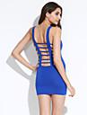 curea pentru femei rochie mini, bumbac amestecuri albastru / negru sexy / parte