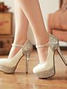 Pentru femei Pantofi Piele Originală Luciu Primăvară Vară Tocuri Toc Stilat Vârf rotund Paiete pentru Nuntă Rochie Party & Seară Alb