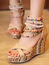 Damă Pantofi PU Primăvară Vară Toamnă Sandale Toc Platformă Pantofi vârf deschis Perle Pentru Casual Rochie Party & Seară Portocaliu