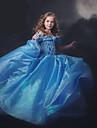 Fata lui Rochie Mată Poliester Nailon Vară Mânecă scurtă Albastru Culoare ecran