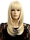 Femme Perruque Synthetique Sans bonnet Long Raide Blond Coupe Degradee Avec Frange Perruque Halloween Perruque de carnaval Perruque