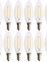 12 pcs 2W 180lm E14 Ampoules a Filament LED C35 2 Perles LED COB Decorative Blanc Chaud 220-240V