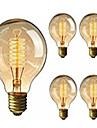 5pcs 40W E26 / E27 G95 Varmvit 2200-2800k Kontor / företag Bimbar Dekorativ Glödande Vintage Edison glödlampa 220-240V