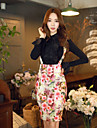 Pentru femei Bodycon Stilouri Vintage Draguț Boho Fuste - Floral Bloc Culoare, Imprimeu