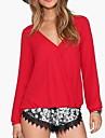 Pentru femei În V Mărime Plus Size Bluză Mată Bumbac