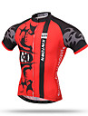 XINTOWN Homme Manches Courtes Maillot de Cyclisme - Blanc Rouge Velo Sechage rapide, Respirable, Anti-transpiration