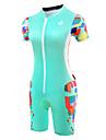 Malciklo Tenue de Triathlon Femme Manches Courtes Velo triathlon/Combinaison Triathlon Design Anatomique Respirable zip YKK Compression