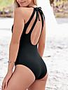 Dame Mată Bustieră O Piesă Costume de Baie Solid Albastru piscină Negru