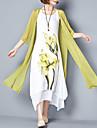 Femme Fleur Grandes Tailles Chinoiserie Maxi Ample / Deux Pieces Robe - Imprime, Fleur Ete Rose Claire Gris Violet XXXL 4XL XXXXXL Coton