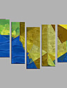 Oil Painting Hand Painted - Abstract European Style Modern Canvas Five Panels