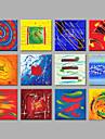 HANDMÅLAD Abstrakt Fyrkantig,Moderna Mer än fem paneler Kanvas Hang målad oljemålning For Hem-dekoration