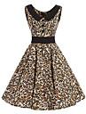 Damă Casul/Zilnic Vintage Swing Rochie-Leopard Fără manșon Rotund Lungime Genunchi Bumbac Toate Sezoanele Talie Medie Inelastic Mediu
