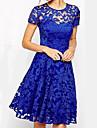noua moda la cald în Europa și America de temperament gât rotund cu maneci scurte rochie de dantelă