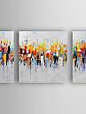 HANDMÅLAD Abstrakt Horisontell, Moderna Duk Hang målad oljemålning Hem-dekoration Tre paneler