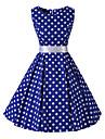 Pentru femei Vintage Bumbac Swing Rochie Buline Lungime Genunchi Albastru