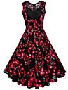 Damă Ieșire Concediu Plus Size Vintage Swing Rochie-Floral Fără manșon În V Midi Bumbac Vară Talie Medie Inelastic Mediu