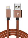 Fulger USB 2.0 Împletit Înaltă Viteză Placat Auriu Cablu Pentru iPhone iPad MacBook MacBook Air MacBook Pro cm Piele PU Aluminiu