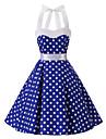 Pentru femei Vintage Bumbac Swing Rochie Buline Halter Lungime Genunchi Albastru
